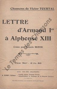 Lettre d'Armand premier à Alphonse treize