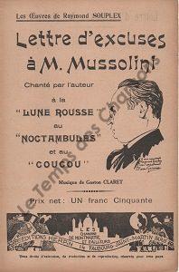 Lettre d'excuses à Monsieur Mussolini