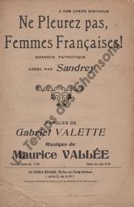 Ne pleurez, femmes Françaises !