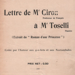Lettre de Mr Giron à Mr Toselli